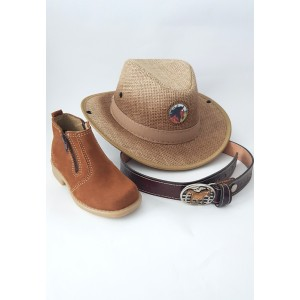 Kit Country infantil Chapéu, cinto  e botina estilo cowboy